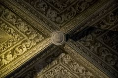Inside of Pena Palace in Sintra, Lisbon district, Portugal. Old ceiling . Royalty Free Stock Photography