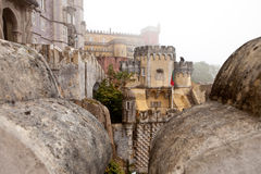 Sintra, Portugal, Pena Palace and Garden in the fog Stock Photos
