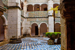 Sintra, Portugal, Pena Palace, romantic patio with galleries and columns Royalty Free Stock Photos