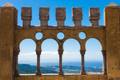 Arabian style arches of Pena Palace Royalty Free Stock Image