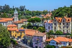 Sintra stad i Portugal, historiska hus Fotografering för Bildbyråer