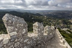Sintra portugal with moorish castle. Sintra village portugal with moorish castle Stock Photography