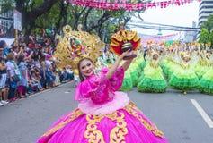 2018 Sinulog festival. CEBU CITY , PHILIPPINES - JAN 21 : Participants in the Sinulog festival in Cebu city Philippines on January 21 2018. The Sinulog is the Royalty Free Stock Images
