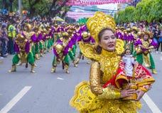 2018 Sinulog festival. CEBU CITY , PHILIPPINES - JAN 21 : Participants in the Sinulog festival in Cebu city Philippines on January 21 2018. The Sinulog is the Royalty Free Stock Photography