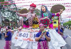 2018 Sinulog festival. CEBU , PHILIPPINES - JAN 21 : Giant Puppets at the Sinulog festival in Cebu  Philippines on January 21 2018. The Sinulog is the centre of Royalty Free Stock Images