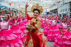 Sinulog Grand Parade 2017. One of the festival queens leads the contingent at the Sinulog Grand Parade 2017 in Cebu City, Philippines Stock Photo