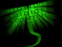 Sinuous binary code data flowing. Through cyberspace Stock Image