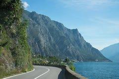 Sinuous quayside road along garda lake Royalty Free Stock Photography