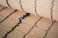 Sinus Heart Rhythm On Electrocardiogram Record Paper Showing Normal P Wave, PR and QT Interval and QRS Complex, EKG paper. Sinus Heart Rhythm On stock image