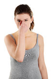 Sinus pain Stock Photo