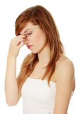 Sinus pain Royalty Free Stock Photography