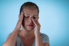 Sinus pain, sinus pressure, sinusitis. Royalty Free Stock Photography