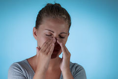 Sinus pain, sinus pressure, sinusitis. Stock Photo