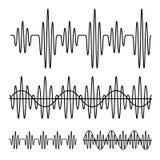 Sinusformig svartlinje för solid våg stock illustrationer