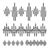 Sinusoidal sound wave black line. Illustration for the web Stock Photos