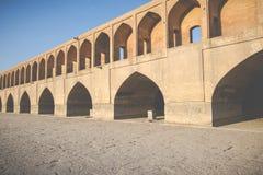 Sio Seh波尔布特,也称33曲拱桥梁,伊斯法罕,伊朗 免版税图库摄影