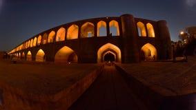 Sio seh波尔布特,在日落的Khajoo桥梁在Esfahan,伊朗 2016年9月14日 图库摄影