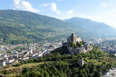 Sion, the canton of Valais in Switzerland. Basilique de Valère Church situated in Sion in the canton of Valais in Switzerland stock photos