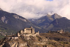 Sion castles. Tourbillon Castle and the Valere fortress as the main landmark of swiss Sion, the capital of canton Valais in Switzerland stock images