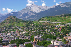 sion city capital of the canton of valais Royalty Free Stock Images