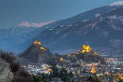 Sion Skyline, die Schweiz Lizenzfreie Stockbilder