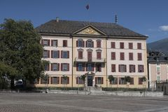 Government building on place de la Planta in Sion de main city in the Canton of Valais in. Sion, Switzerland - August 2, 2017; Government building on place de la royalty free stock images