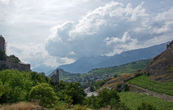 Sion, Valais, Switzerland. Photo has been taken in Sion, Switzerland during a summer day stock photo