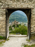 Sion view (Switzerland). Notre Dame de Valère (Basilique de Valère), also called Valère Castle (Château de Valère), is a fortified church situated royalty free stock photography