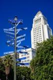 Siostrzani miasta Los Angeles i urząd miasta Obrazy Stock