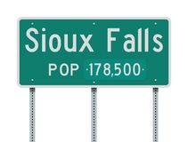 Sioux falls Entering road sign. Vector illustration of the Sioux falls Entering green road sign with population information royalty free illustration