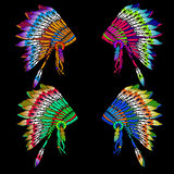 Sioux. Headdress. Indian head-dress. Set in different colors Royalty Free Stock Image