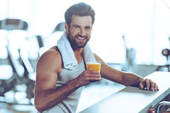 Sip of freshness after great workout. Royalty Free Stock Photos