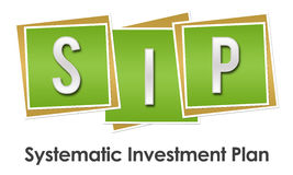 SIP Green Blocks. SIP - Systematic investment Plan text alphabets written over green background Stock Photography