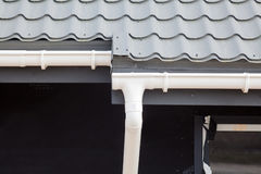 SIP panel house construction. New gray metal tile roof with white rain gutter. Royalty Free Stock Images