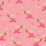 Sip and See seamless vector pattern background. Newborn baby gir vector illustration