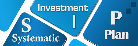 SIP - Systematic Investment Plan Blue Rounded Squares. SIP - Systematic investment Plan text alphabets written over blue background Stock Image