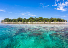 Τυρκουάζ ωκεάνιο νερό και ειδυλλιακό τροπικό νησί Sipadan, Μαλαισία Στοκ φωτογραφία με δικαίωμα ελεύθερης χρήσης