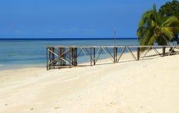 Sipadan island beach and pier. Sabah, Malaysia Royalty Free Stock Photo