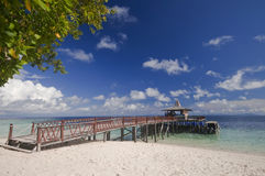 Sipadan island jetty Royalty Free Stock Images