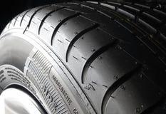 Sipes和凹线在夏天轮胎特写镜头 图库摄影