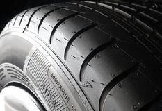 Sipes and grooves on summer tire closeup Stock Photography