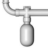 Siphon de l'eau de drain de tuyau Image stock