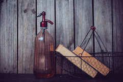 Siphon and vintage books Stock Images
