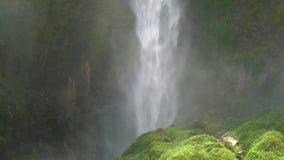 Sipiso-piso waterfall footage in North Sumatra. Establishing shot stock footage