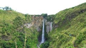 Sipiso-piso waterfall in North Sumatra. Establishing shot stock video