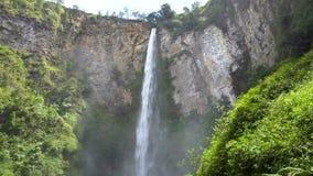 Sipiso-piso waterfall in North Sumatra. Establishing shot stock video footage