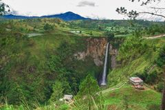 Sipisopiso waterfall, Medan, Indonesia. Stock Photos