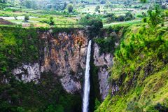 Sipisopiso waterfall, Medan, Indonesia. The Sipisopiso waterfall, Medan, Indonesia Royalty Free Stock Images