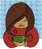 Sipping Coffee. Woman sits relaxed and comfortable with her mug of hot coffee (or tea) - in front of a swirly blue background Royalty Free Illustration