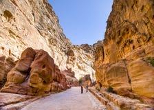 Siq峡谷, Petra,约旦 图库摄影